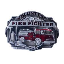 Metal Fire Fighter Volunteer Men Leather Belt Buckle Replacement Cowboy Western