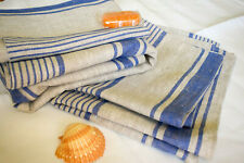 8 Pieces Blue Stripe Towel BATH SET: 2+2+4 Stonewash 100 % Linen French inspired