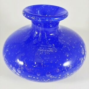 "HANDMADE 4"" Small Round Cobalt Dark Blue Bubble Art Blown Glass Vase"