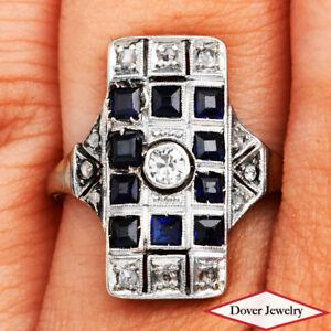 Antique Diamond Sapphire 18K Gold Elegant Cluster Ring NR
