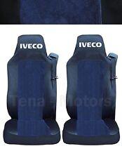 2x IVECO STRALIS Coprisedili Fatti su misura Logo Camion Furgone Nero/Blu DE LUX