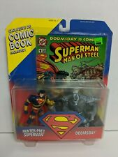 Superman Hunter Prey & Doomsday Action Figures w/ Comic Book, Kenner 1995 NEW