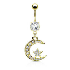 GOLD Plated Star Moon Dangle BELLY BUTTON NAVEL Bar RINGS Body Piercing Jewelry