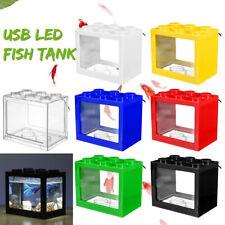 Mini LED Light Fish Tank Clear USB Small Aquarium Box Office Desktop  *