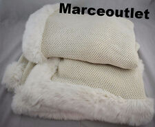 "Hotel Collection Waffle Knit Throw With Faux Fur Trim 50"" X 70"" Ivory"