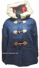 Girl's Winter Voyager Coat Navy Blue NEW Size Large 10/12 Jacket Faux Fur Hood