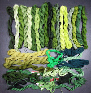 37x Needlepoint/Embroidery THREAD unbranded 1 ply Crewel wool-greens-IW52