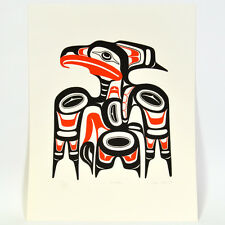 Vintage 1990 Alvin Adkins Native Haida Hawk Silkscreen Print Ed 225 Signed Art