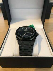 Luxury Men's AP Style Watch Black & Blue Stainless Steel Luminous RRP £39.99
