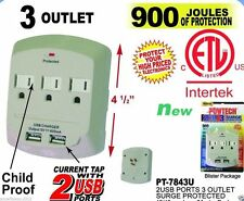 3 Outlet Surge Protector Wall Current Tap w / 2 USB Port Childproof, 900 Joules