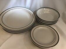 Vintage Gibson Green Stripe 4 Place Setting 12 Piece Plates Saucers Bowls