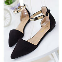 Women's Ankle Strap Shoes Ballet Flats Buckle Summer Pointed Toe Sandals