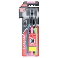 New Colgate Slim Soft Charcoal Toothbrush Pack 3 Assorted Color Ultra soft