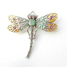 Genuine Emerald Ruby Plique a Jour Enamel Dragonfly Brooch Pendant