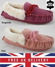 New Ladies Real Leather Suede Fur Slip On Moccasin Slippers Loafer House Shoes
