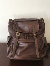 FOSSIL Leather Drawstring Bucket Bag Backpack Laptop Bookbag Travel Bag NR!