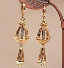"""18K Gold Filled 2.1"""" Earring Waterdrop Hollow """"1"""" Laser Carving Flower Bell DS"""