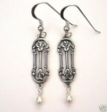 Art Nouveau Rose Bud Earrings Vintage Style Floral Silver & Pearl Jewelry