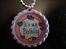 It's My Birthday hearts BOTTLE Cap Jewelry Necklace - *Free Chain* - handmade