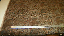 Brown Black Leaf Print Chenille Upholstery Fabric Remnant  F1233