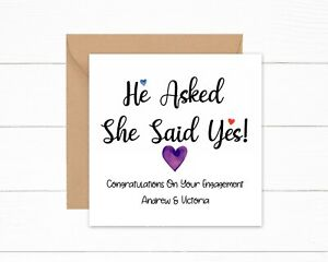 Personalised Engagement card. He Asked, She Said Yes, Congratulations