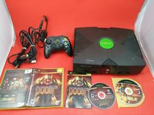 Black Xbox System Console [w/ 1 Official Controller, All Cables, Doom 3 & Fable]