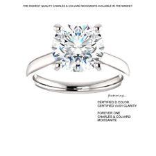3.00 Carat D VVS1 CERTIFED Moissanite Ring in 14K Gold Charles & Colvard