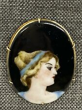 Porcelain C Clasp Brooch Pin French Victorian Antique Painted Portrait Cameo