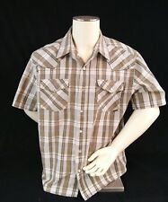 Gotcha Men's Shirt Size L Western Pearl Snap Cotton Blend Browns & White Plaid