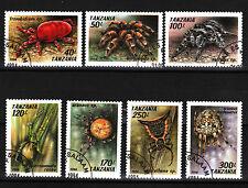 Araignées Jeu de 7 CTO timbres 1994 tanzanie #1235-41