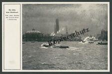 v. Kalckreuth Hamburg Grasbrook Gasometer Hafen Elbe Dampfbarkasse Panorama 1912