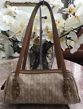 Fossil Khaki Beige Signature Canvas Brown Leather Small Tote Satchel Bag EUC
