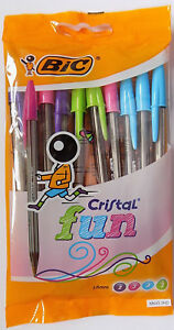 10 BiC Cristal Fun Assorted Ball Pens - 2 Purple 3 Pink 3 Blue 2 Green - Free PP