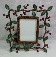 "Berries and Leaves Frame Photo Size 2.5"" x 3.5"" Tabletop Garden Cottage Shabby"