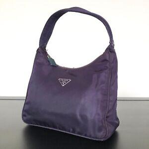 Authentic Prada Nylon Mini Hobo Bag Purple Vintage Kendall Jenner Handbag Tote