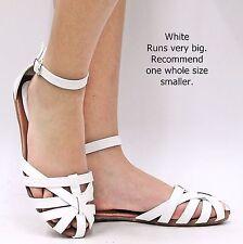 New Women FV82 Black White Tan Brown Mary Jane  Ankle Strap Ballet Flats Sandals