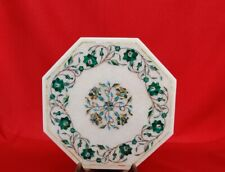 "18"" White Marble Center Table Top Semi Precious Stones Inlay Work"
