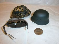 Toys City German Helmet ( metal ) and cloth camo cover 1/6th scale toy accessory