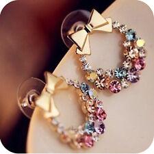 Glitz New Fashion Imitation Diamond Colorful Rhinestone Bow Earrings