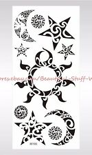 US SELLER-temporary fake tattoos sun moon star tribal temporary tattoo