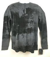 NEW! Ksino Mens Black Gray Long Sleeve Henley Shirt Medium Large XL 2XL