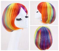 Colorful Lady Lolita Bob Rainbow Wigs Cosplay Hair Short Straight Party Wig+Cap