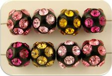Beads 12mm Crystal Balls Light Pink Rose Fuchsia Topaz Swarovski Elements QTY 8
