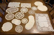 Beautiful Lot 23 Antique Linens - Doilies, Coasters, Trivets, Crochet, Lace