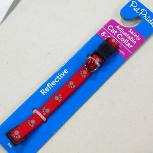 """Cat Collar Safety Adjustable 8-14"""" neck 3/8"""" Wide Break Away Buckle Red White"""