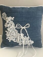 Western Wedding Blue Denim and White Lace Ring Pillow