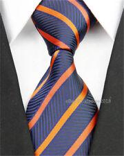 Mens Slim Wedding Silk Tie Business Necktie Orange Navy striped Grooms Men Ties