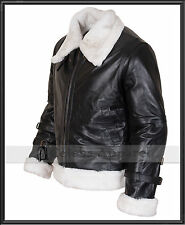 Mens B3 Bomber Aviator Flight Genuine Sheepskin Hooded Fur Winter Leather Jacket