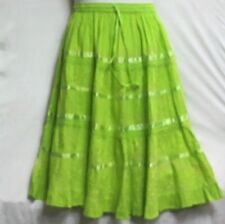 Women Clothing Elastic Waist Midi Skirt 100% Cotton Free Size Green