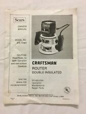 SEARS CRAFTSMAN ROUTER MODEL 315 17461 OWNERS MANUAL